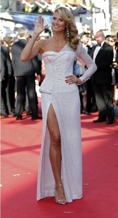 "Model Heidi Klum arrives for the screening of the film ""Nebraska"" in competition during the 66th Cannes Film Festival"