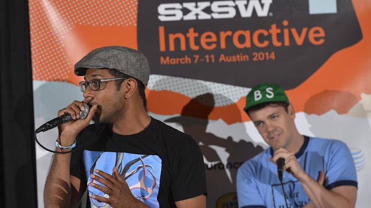 IMAGE DISTRIBUTED FOR PARTICIPANT MEDIA - Utkarsh Ambudkar, left, from Freestyle Love Supreme performs during Participant Media's Engage, Inspire and Ignite: Conversations about Unleashing Social Good at SXSW in Austin, Texas, Monday, March 10, 2014. (Photo by Jack Dempsey/Invision for Participant Media/AP Images)