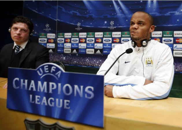 Manchester City's Vincent Kompany attends a news conference at Camp Nou stadium in Barcelona