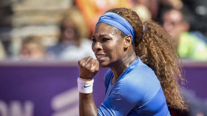 Serena Williams reacts during the final of the Swedish Open against Johanna Larsson, not shown, on Sunday, July 21, 2013 in Bastad, Sweden. Williams won 6-4, 6-1. (AP Photo/Bjorn Larsson Rosvall, Scanpix) SWEDEN OUT