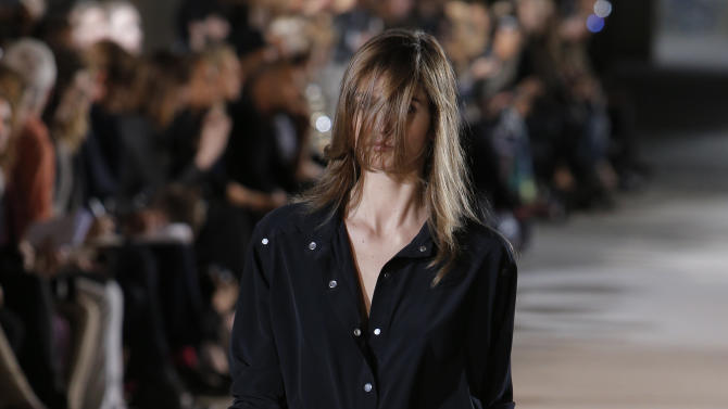 A model wears a creation as part of fashion designer Anthony Vaccarello's spring-summer 2013 ready to wear collection in Paris, Tuesday, Sept. 25, 2012.  (AP Photo/Francois Mori)