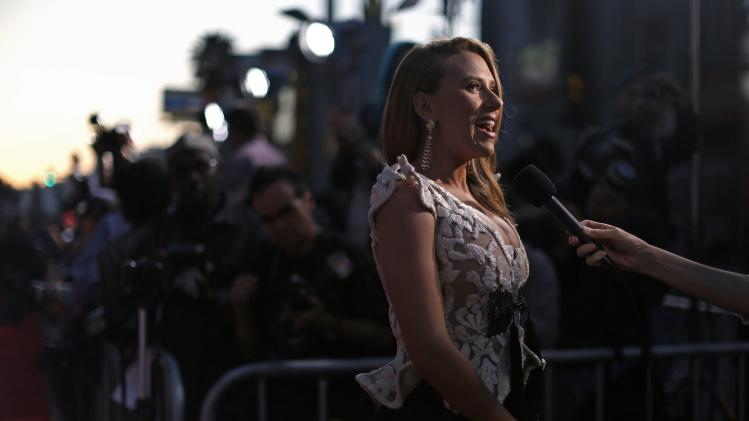 "Cast member Johansson is interviewed at the premiere of ""Captain America: The Winter Soldier"" in Hollywood"