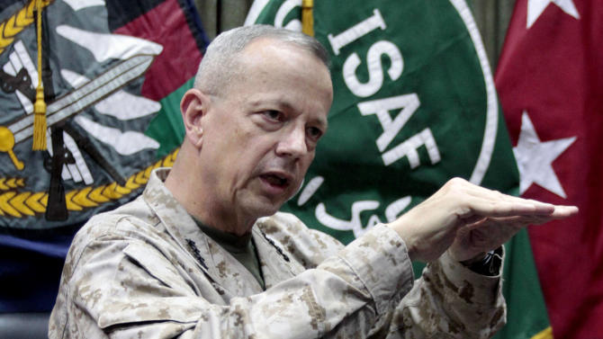 """FILE - This July 22, 2012, file photo shows U.S.  Gen. John Allen, top commander of the NATO-led International Security Assistance Forces (ISAF) and U.S. forces in Afghanistan, during an interview with The Associated Press in Kabul, Afghanistan. The Pentagon says Gen. John Allen is under investigation for alleged """"inappropriate communications"""" with Jill Kelley, the woman who is said to have received threatening emails from Paula Broadwell, the woman with whom former CIA Director David Petraeus had an extramarital affair. Defense Secretary Leon Panetta says the FBI referred the matter to the Pentagon on Sunday, Nov. 12, 2012. Panetta says he ordered a Pentagon investigation of Allen on Monday. (AP Photo/Musadeq Sadeq, File)"""