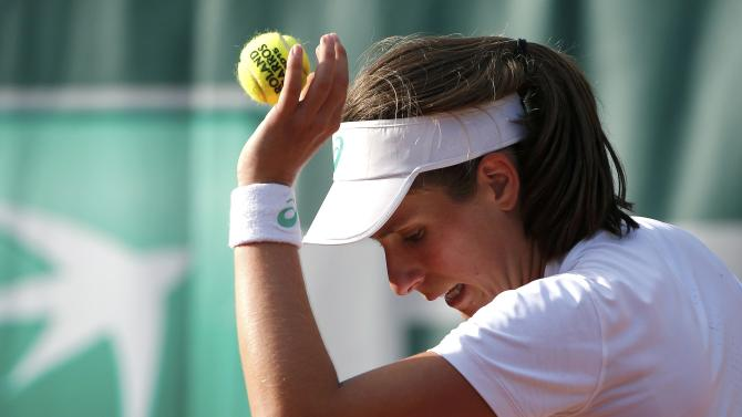 Johanna Konta of Britain plays a shot to Denisa Allertova of the Czech Republic during their women's singles match at the French Open tennis tournament at the Roland Garros stadium in Paris