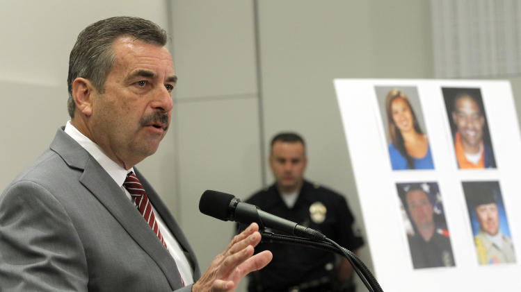 Los Angeles Police Chief Charlie Beck speaks at a new conference, Tuesday Feb. 19, 2013 in Los Angeles. Beck said the review of ex-officer Dorner's firing is under way, but it's too early to comment on the re-examination. (AP Photo/Nick Ut)