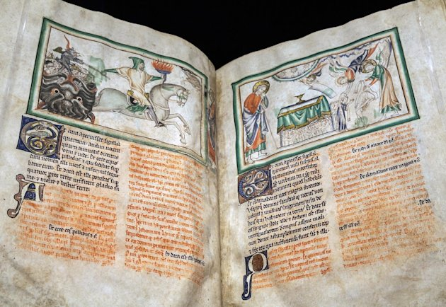 "In this photo taken Tuesday, May 29, 2012, A medieval manuscript : ""Opening the Fourth Seal; The Fourth Horseman"" by an unknown artist, London, about 1255-60, is displayed at the ""Heaven, Hell and Dyi"