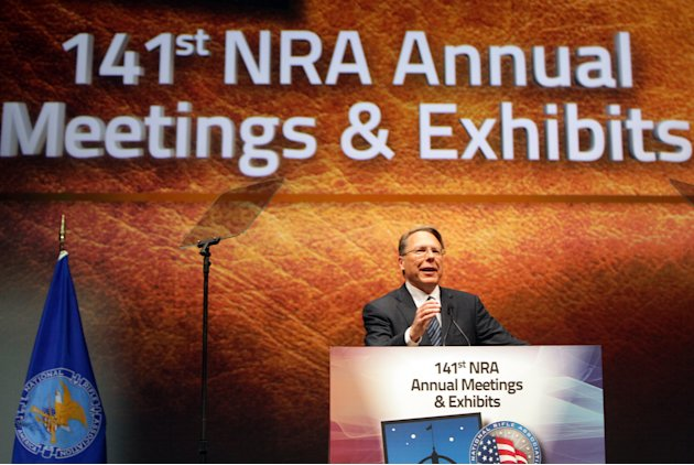 FILE - In this April 14, 2012, file photo, Wayne LaPierre Jr., Executive Vice President and Chief Executive Officer of the National Rifle Association speaks at its members annual meeting during its na