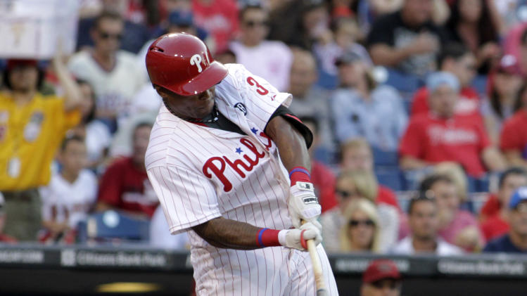 Philadelphia Phillies' Marlon Byrd in baseball action against the Arizona Diamondbacks Friday, July 25, 2014, in Philadelphia. (AP Photo/H. Rumph Jr)