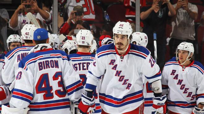Brian Boyle #22 Of The New York Rangers And His Teammates Celebrate Their 3 To 0 Win Over The New Jersey Devils In Getty Images