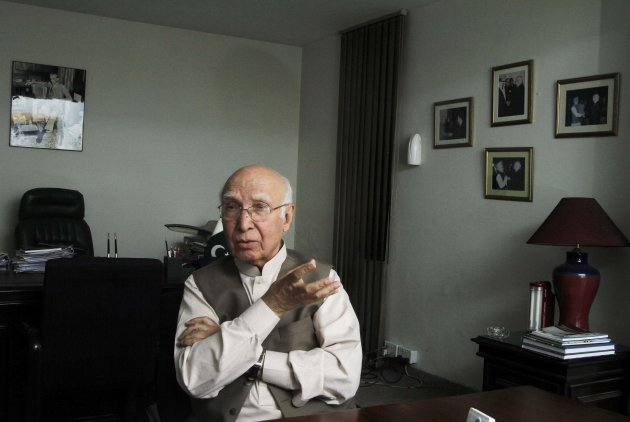Sartaj Aziz, who has been advising Pakistan's incoming Prime Minister Nawaz Sharif, gestures during an interview with Reuters in Lahore