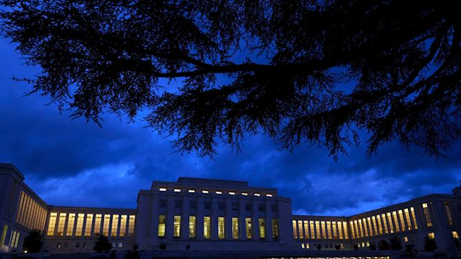 An early morning view of United Nations European headquarters building in Geneva