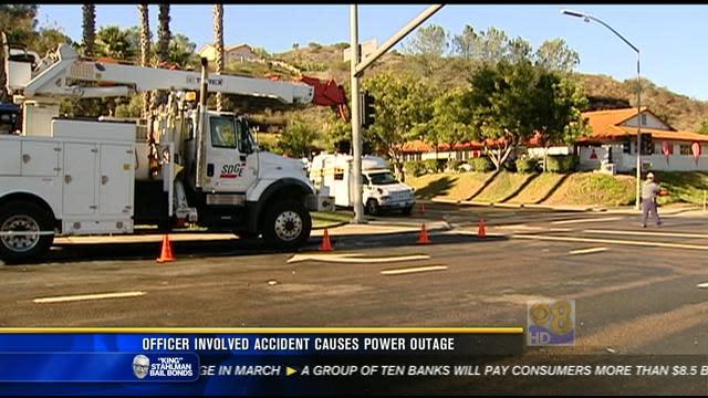 Power restored after officer-involved crash