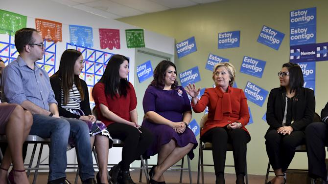 Democratic presidential candidate Hillary Clinton meets with a group of DREAMers, at a campaign office in Las Vegas