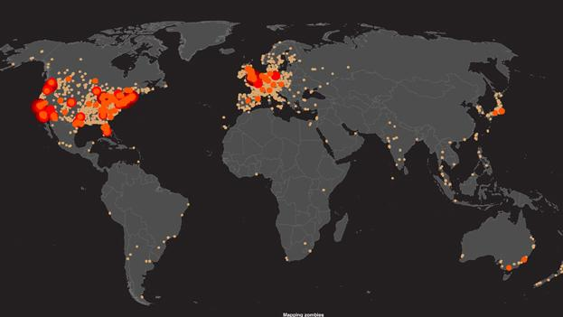 A World Map of the Places That Care About Zombies