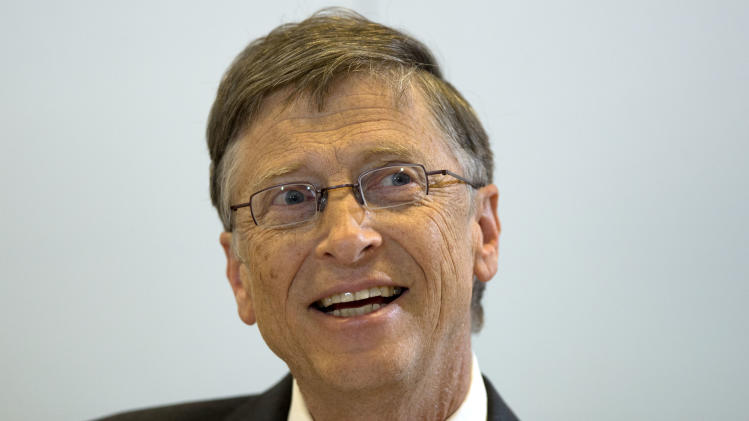 Bill Gates, founder of the software company Microsoft, speaks during a press conference after a meeting with German Development Aid Minster Dirk Niebel, unseen, in Berlin, Germany, Tuesday, Jan. 29, 2013. (AP Photo/Michael Sohn)