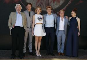 "Cast members Donald Sutherland, Liam Hemsworth, Jennifer Lawrence, Sam Claflin, Josh Hutcherson and Julianne Moore pose during a photocall for the film ""The Hunger Games : Mockingjay - Part 1"" at the 67th Cannes Film Festival in Cannes"