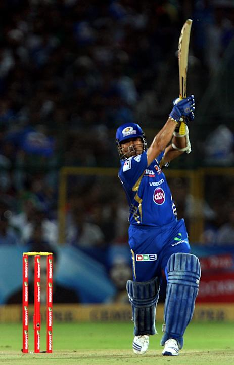 Mumbai Indians batsman Sachin Tendulkar in action during the CLT20 match against Rajasthan Royals at Sawai Mansingh Stadium, Jaipur on Sept. 21, 2013. (Photo: IANS)