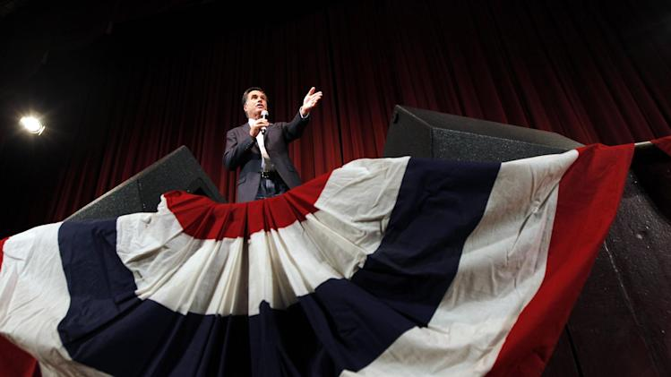 Republican presidential candidate, former Massachusetts Gov. Mitt Romney speaks at a campaign rally at the Royal Oak Theater in Royal Oak, Mich., Monday, Feb. 27, 2012. (AP Photo/Gerald Herbert)