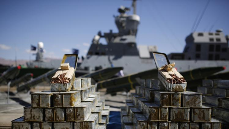 Ammunition found aboard the Klos C ship is displayed at an Israeli navy base in Eilat