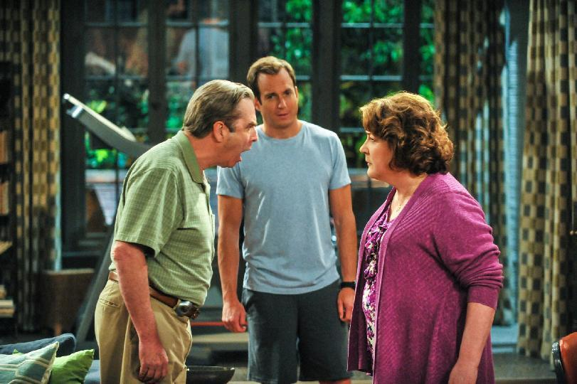 "This publicity image released by CBS shows, from left, Beau Bridges, Will Arnett and Margo Martindale in a scene from the comedy series ""The Millers,"" premiering Sept. 26 at 8:30 p.m. EST. (AP Photo/CBS, Richard Foreman)"