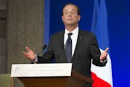 French President Francois Hollande, picture June 12, faced his first political storm as his rightwing opponents looked to exploit an incendiary tweet by his partner just days ahead of a parliamentary election