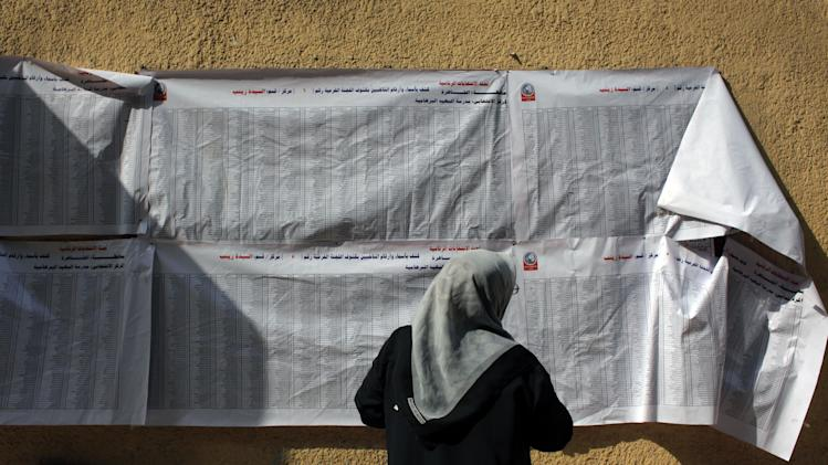 An Egyptian women checks a voting list at a polling station during the second day of the presidential election runoff in Cairo, Egypt, Sunday, June 17, 2012. Egyptians are choosing between a conservative Islamist and Hosni Mubarak's ex-prime minister in a second day of a presidential runoff that has been overshadowed by the domination of the country's military. (AP Photo/Nasser Nasser)