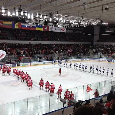 Russian national anthem before KHL game