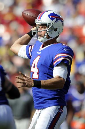 Buffalo Bills quarterback Kevin Kolb throws to a receiver in the first half of an NFL preseason football game against the Washington Redskins Saturday, Aug. 24, 2013, in Landover, Md. (AP Photo/Nick Wass)