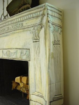 Canvas fireplace slipcover