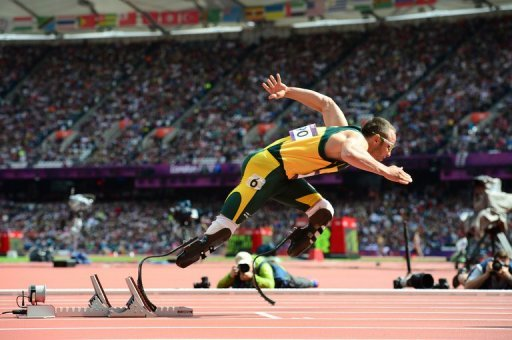 <p>South African Oscar Pistorius makes history by becoming the first double amputee to compete in an athletics event at the Olympics.</p>