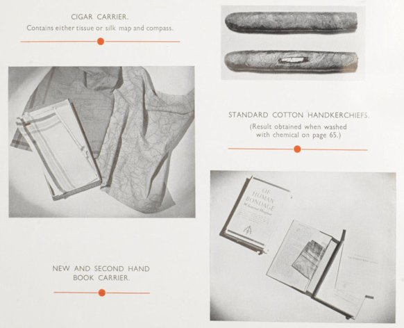 A close-up of one of the pages of the manual shows a cigar which can carrier a map or compass, 'Of Human Bondage' which conceals a map and a handkerchief which doubles as a map (Bonham)
