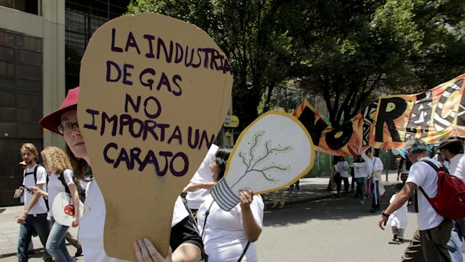 Activists participate in a rally held a day before the start of the Paris Climate Change Conference (COP21), in La Paz