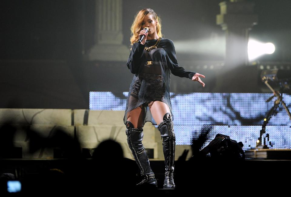 Singer Rihanna performs at the Barclays Center on Tuesday, May 7, 2013 in New York. (Photo by Evan Agostini/Invision/AP)