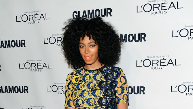"Singer Solange Knowles attends Glamour Magazine's 22nd annual ""Women of the Year Awards"" at Carnegie Hall on Monday Nov. 12, 2012 in New York. (Photo by Evan Agostini/Invision/AP)"