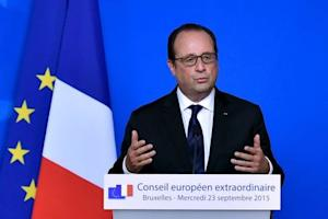 France's President Hollande gives a news conference…