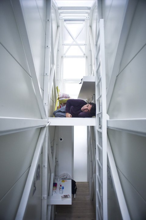 World's thinnest house Keret ladder two floors