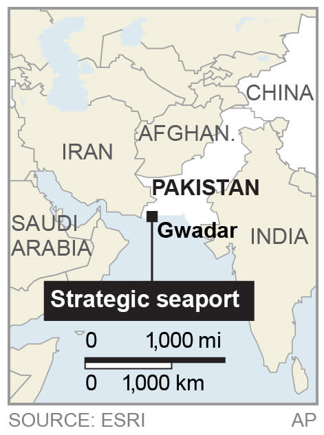 Map locates a seaport, where China is poised to take over operational control, in the former fishing village of Gwadar, Pakistan;
