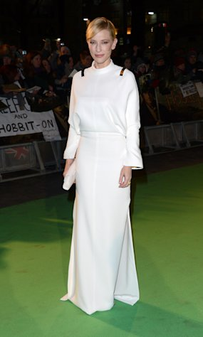 "Actress Cate Blanchett arrives at the UK premiere of ""The Hobbit: An Unexpected Journey"" at The Odeon Leicester Square, London on Wednesday, Dec. 12, 2012. (Photo by Jon Furniss/Invision/AP)"