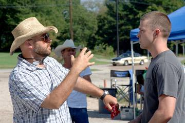 Director Craig Brewer and Justin Timberlake on the set of Paramount Classics' Black Snake Moan