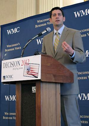 U.S. Rep. Paul Ryan speaks to members of the Wisconsin Manufacturers and Commerce on Monday, April 9, 2012, in Milwaukee. Ryan said Wisconsin's recall election for Republican Gov. Scott Walker is the second most important election in the nation this year. (AP Photo/Carrie Antlfinger)