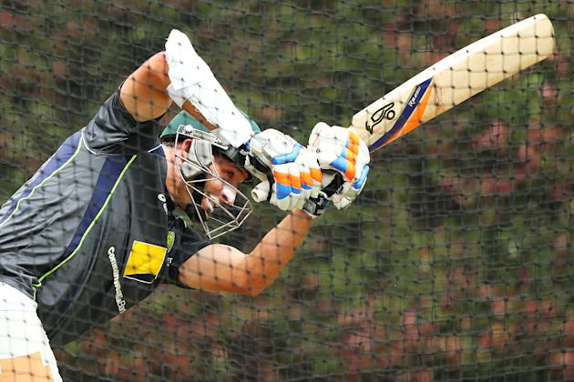 SYDNEY, AUSTRALIA - JANUARY 02:  Michael Hussey of Australia bats during an Australian nets session at Sydney Cricket Ground on January 2, 2013 in Sydney, Australia.  (Photo by Brendon Thorne/Getty Im