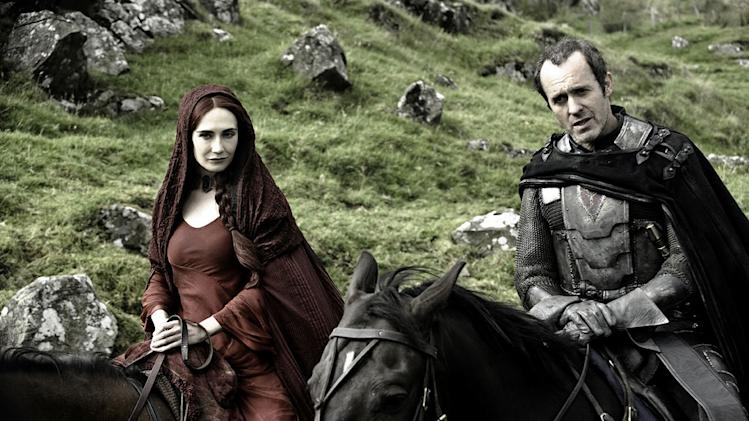 "Carice van Houten as Mellisandre and Stephen Dillane as Stannis Baratheon in ""Game of Thrones."""
