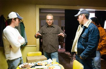 Director Michael Polish , Billy Bob Thornton and writer Mark Polish on the set of Warner Bros. Pictures' The Astronaut Farmer