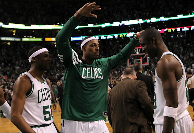 (L-R) Keyon Dooling #51, Paul Pierce #34 And Mickael Pietrus #28 Of The Boston Celtics Celebrate  Getty Images