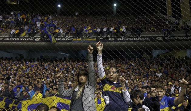 Boca Juniors' supporters watch their Copa Libertadores soccer match against Newell's Old Boys in Buenos Aires
