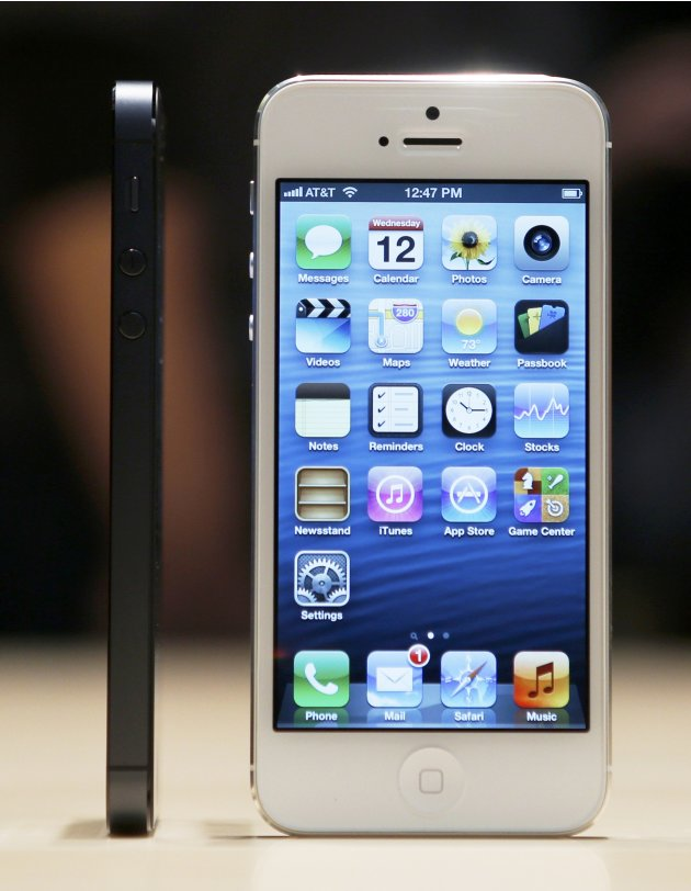 The iPhone 5 on display after its introduction during Apple Inc.'s iPhone media event in San Francisco