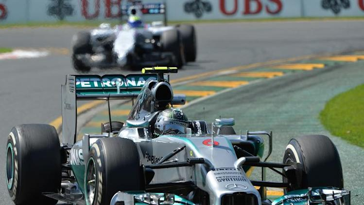 Mercedes driver Niko Rosberg powers through a corner during the first practice session of the Australian Grand Prix in Melbourne on March 14, 2014