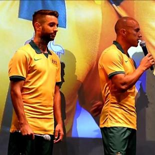 Australia unveils football kit for Brazil World Cup