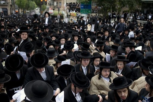 Thousands of ultra-Orthodox Jews pray in Jerusalem during a protest against the replacement to the Tal Law, in June 2012. The Israeli government is unlikely to reach a deal on a new military draft law this session, potentially threatening the stability of the ruling coalition, a senior cabinet minister said on Thursday