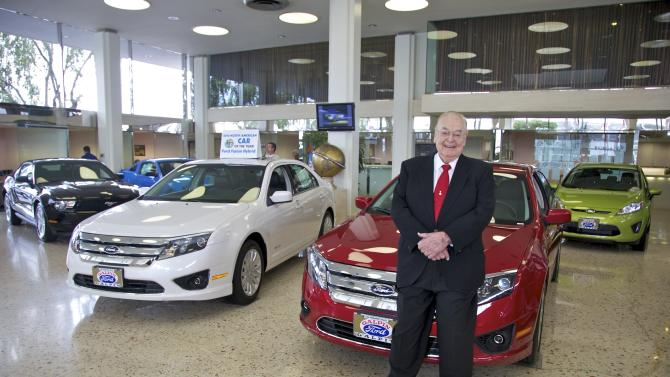 This Nov. 10, 2011 photo shows Bert Boeckmann, President and owner of Galpin Motors of North Hills, the largest Ford retailer in the U.S., posing for a photo at his dealership  in Los Angeles. LosAngeles Mayor Antonio Villaraigosa wants to lure new car dealers to Los Angeles by eliminating city business taxes for auto dealers.  (AP Photo/Damian Dovarganes)